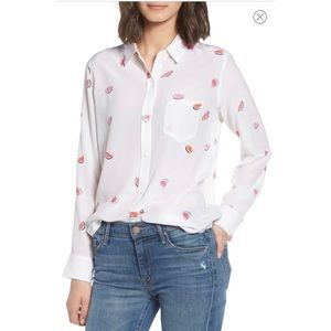 Rails Silk Kate Watermelon white button up shirt S